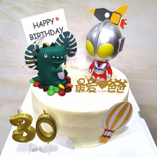 儿童生日蛋糕装饰奥特曼怪兽摆件卡通蛋糕装饰小怪兽