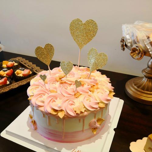 ins超火粉色玫瑰金色叶子蛋糕(图片为8寸效果,定6寸的