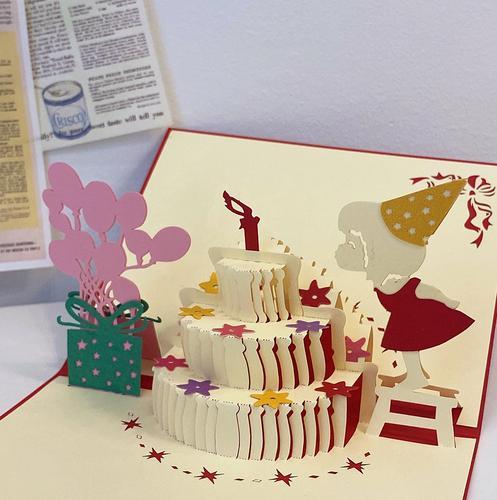 ins立体女孩吹蜡烛蛋糕贺卡创意3d手工生日礼物祝福