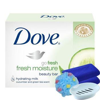 多芬dove柔肤乳霜香块100g×3块清透盈润香皂单块装黄瓜绿茶香氛保湿