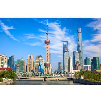 泽熙上海夜景繁华城市东方明珠海报外滩陆家嘴城市建筑风景画装饰贴画