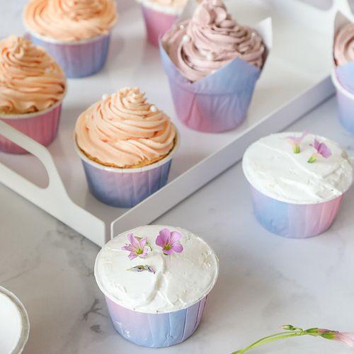 渐变色马芬杯纸杯蛋糕纸杯家用甜品台耐高温杯子烤箱西点烘焙50个
