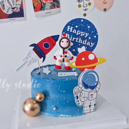 软陶宇航员生日蛋糕摆件太空探险星球主图蛋糕插牌儿童生日派对卡