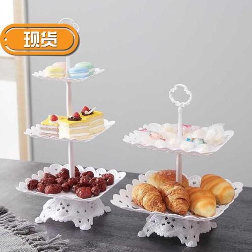 塑料水果盘家用客厅三层蛋糕架欧式干果盘下m午茶点心