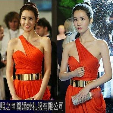 来图定制韩版miss ripley李多海单斜肩前短后长拖尾