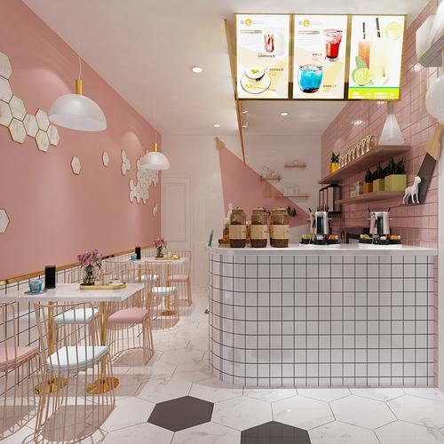 奶茶店铺装修设计ins网红甜品果汁饮品小吃餐饮蛋糕店