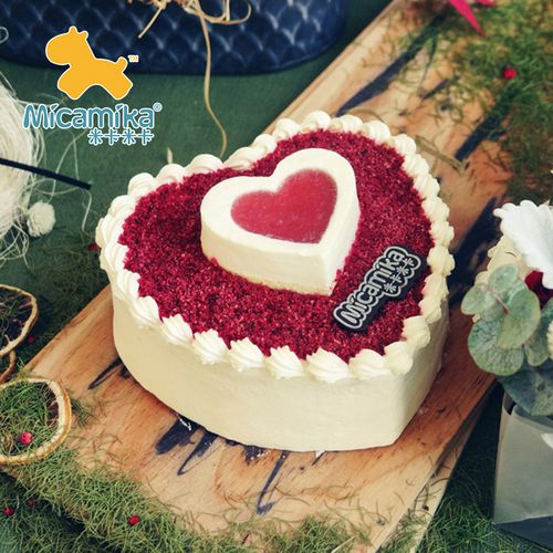 micamika节心形红丝绒双层鲜奶ins网红浓香慕斯表白生日蛋糕