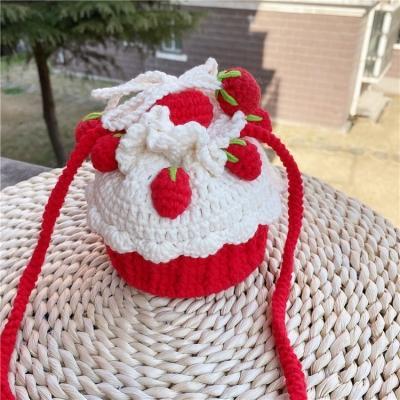 圣诞树蛋糕包手工编织草莓包钩织毛线手工斜挎包diy材料包时尚.