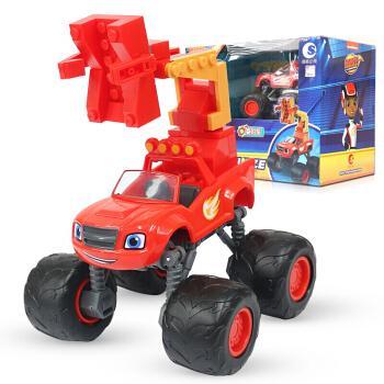 潮昇动漫旋风战车赛车队玩具惯性车队回力车变形车拼装积木场景玩具飙
