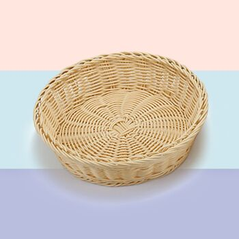 天城一品 面包圆篮子 塑料藤制品批发 水果圆篮子  多