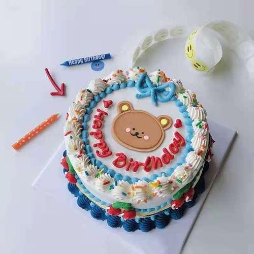 网红韩国ins卡通小熊软陶蛋糕摆件 可爱复古儿童生日