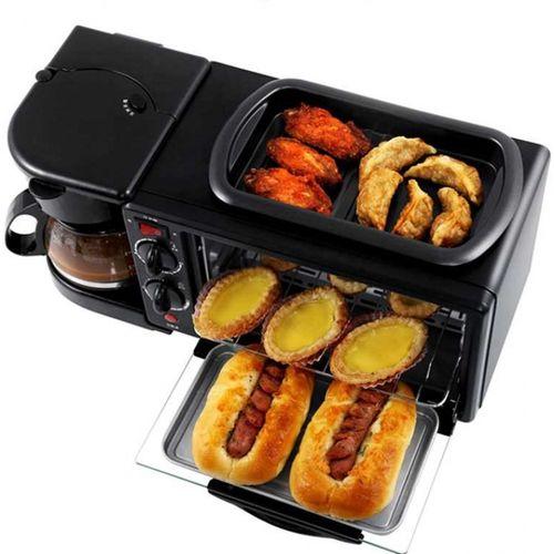 多功能三合一早餐机家用厨房电器咖啡机烘焙面包烤箱