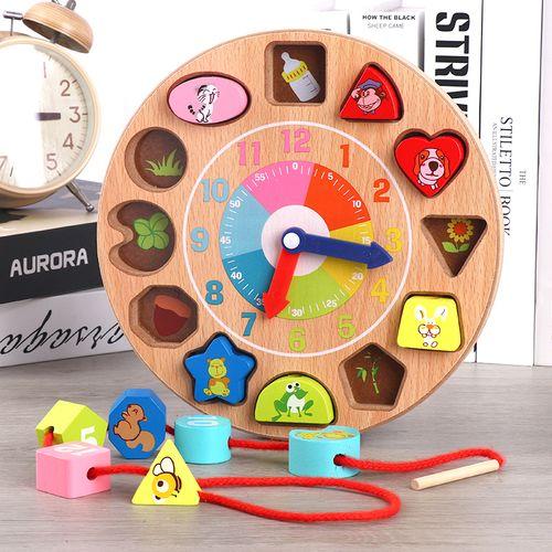时钟模型儿童木制玩具宝宝拼图数字几何形状配对积木