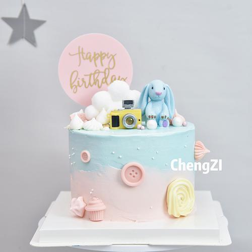 ins风生日小兔子蛋糕装饰摆件插件儿童网红流行插排