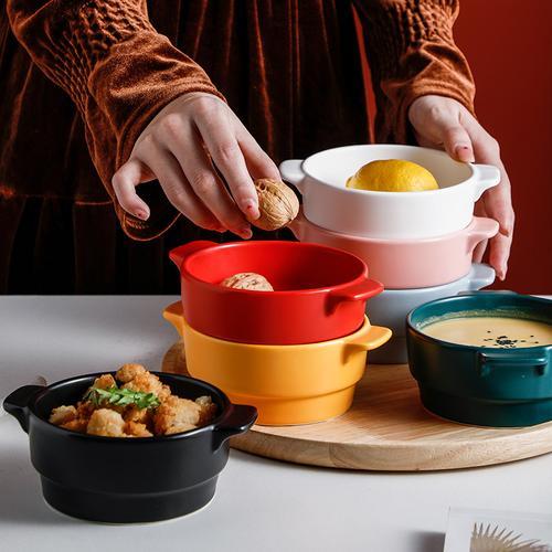 创意双耳陶瓷早餐碗 网红北欧烘焙蒸蛋碗甜品碗沙拉碗可蒸煮烤碗