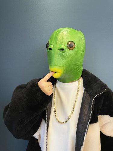 绿头鱼头套绿鱼人头套怪怪鱼面具抖音搞怪搞笑动物鱼头套可爱