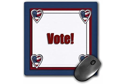 3drose 投票,心形框架鼠标垫,20.32 cm x 20.32 cm (mp_37067_1)