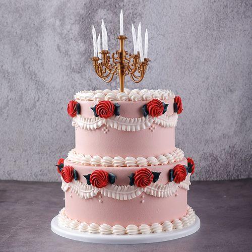 双层复古烛台奶油蛋糕模型仿真2021新款生日假蛋糕样品