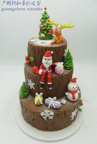 轩和高端翻糖蛋糕模型三层美人鱼圣诞节雪人婚庆开业