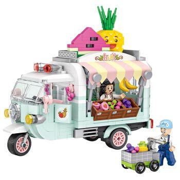 俐智(loz)积木小颗粒积木迷你水果贩卖车甜筒车积木拼装玩具女孩生日