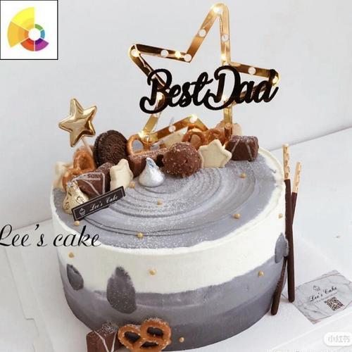 新款蛋糕装饰五角星dad亚克力好爸爸生日插牌父亲节