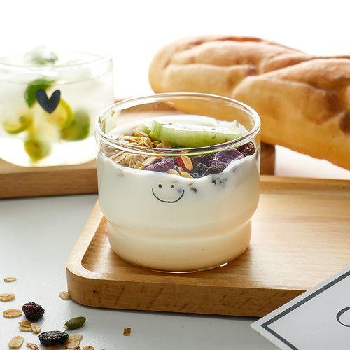 ins风玻璃杯家用小清新早餐牛奶杯酸奶杯燕麦杯甜品杯小号咖啡杯
