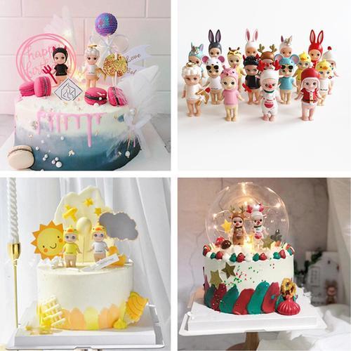 宝宝生日蛋糕装饰独角兽摆件恶魔天使娃娃丘比特兔子