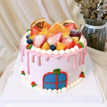 臻鸣全国同城配送水果蛋糕生日网红创意上海南京儿童皇冠定制 草莓