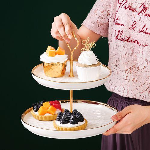 北欧轻奢陶瓷果盘客厅零食盘三层蛋糕甜品盘家用双层