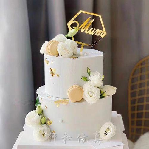 新款双层鲜花蛋糕样品网红花仙子唯美婚庆生日蛋糕模型 摄影道具