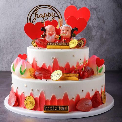 双层蛋糕模型塑料蛋糕模型双层祝寿老人生日蛋糕模型