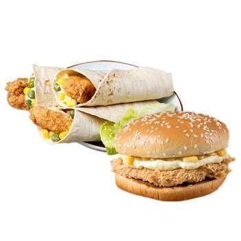 辅兴坊 早餐汉堡包鸡腿堡鸡肉卷微波加热即食速冻食品