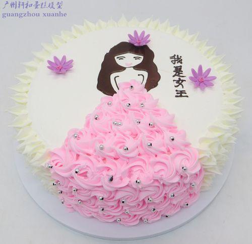 轩和蛋糕模型 创意手绘美少女公主奶油裱花生日蛋糕仿真 塑胶蛋糕