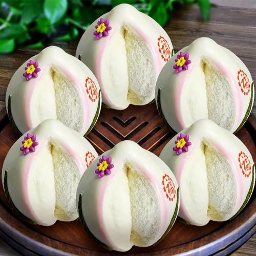 寿桃馒头生日老人手工祝寿花馍礼盒山东大馒头寿桃糕点胶东花饽饽