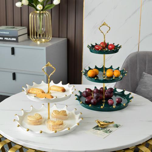 北欧轻奢风三层水果盘架客厅家用陶瓷多双层点心盘创意个性蛋糕盘