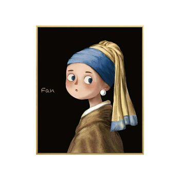玖福世界名画卡通版儿童房挂画戴珍珠耳环的少女卧室壁画ins装饰画 a