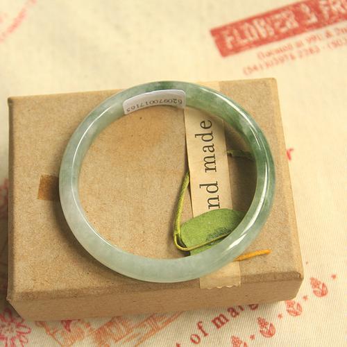 天然翡翠53福镯 绿细条手镯 小尺寸叮当镯a货细手镯