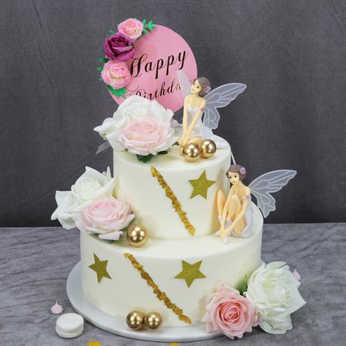双层加高生日蛋糕模型仿真2021新款网红花卉鲜花假