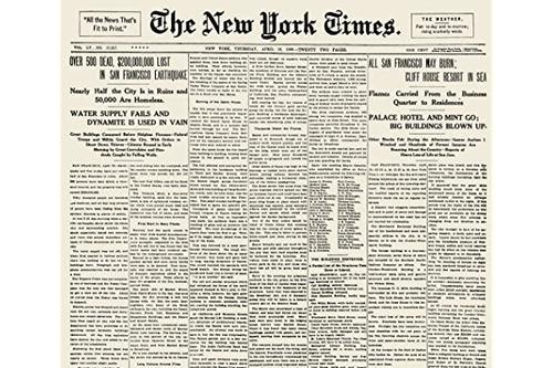 1906 年 4 月 18 日旧金山地震电影《纽约时报》电影《破损之日》海报