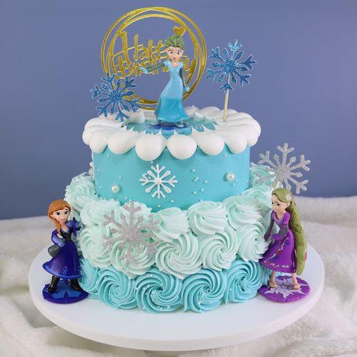 蛋糕模型仿真2021年新款流行网红冰雪奇缘双层生日