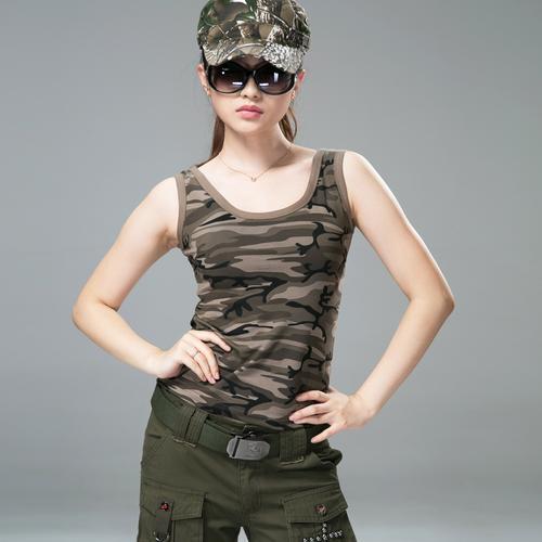户外迷彩运动背心女夏修身水兵舞休闲吊带弹力棉款