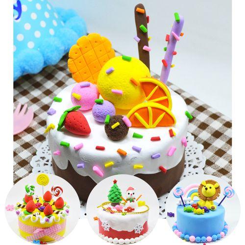 儿童diy创意彩泥粘土手工制作蛋糕材料包玩具圣诞节