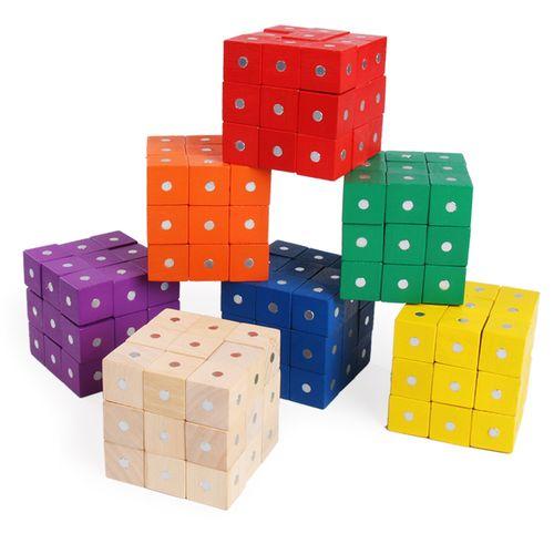磁铁正方体积木六面磁性 一组30粒 认知图形学具积木