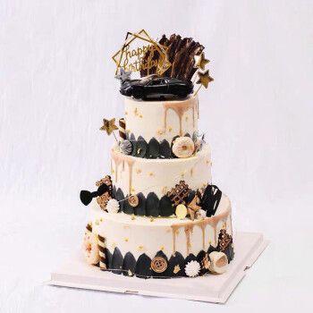 网红生日蛋糕同城配送创意水果3层蛋糕架子多层羽毛暴富全国定制 三层