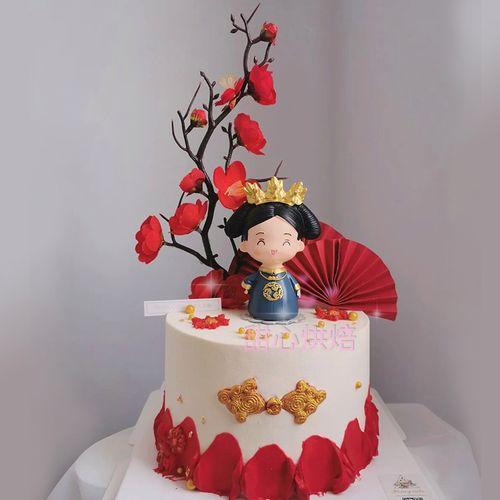 宫廷风蛋糕装饰摆件皇后娘娘腊梅束盘扣模具母亲妈妈