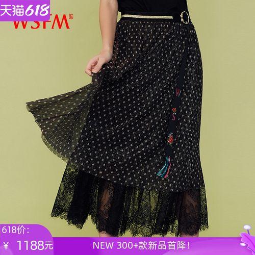 五色风马中国风时尚潮流飘逸网纱裙黑色波点半身裙女修身w20a6202