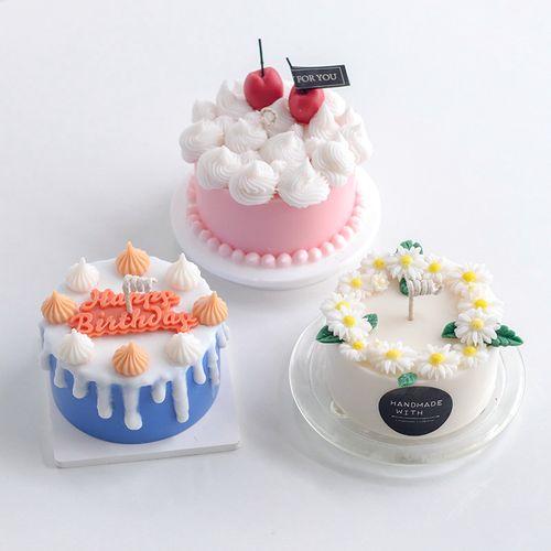 4寸圆形蛋糕香薰蜡烛diy西点烘培仿甜品蜡烛制作硅胶