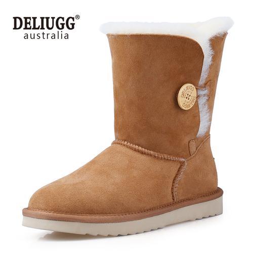 deliugg雪地靴女2019冬季羊皮毛一体中筒经典木扣雪地