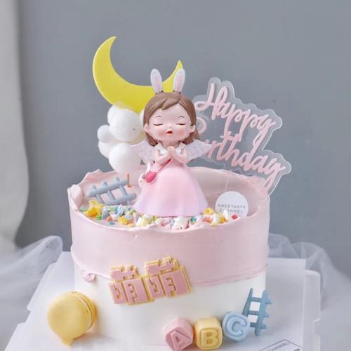 天使女孩蛋糕装饰摆件女宝宝周岁满月百天生日蛋糕