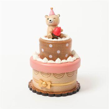 原创设计音乐盒节日礼品送儿童转动八音盒木质创意生日礼物小熊蛋糕